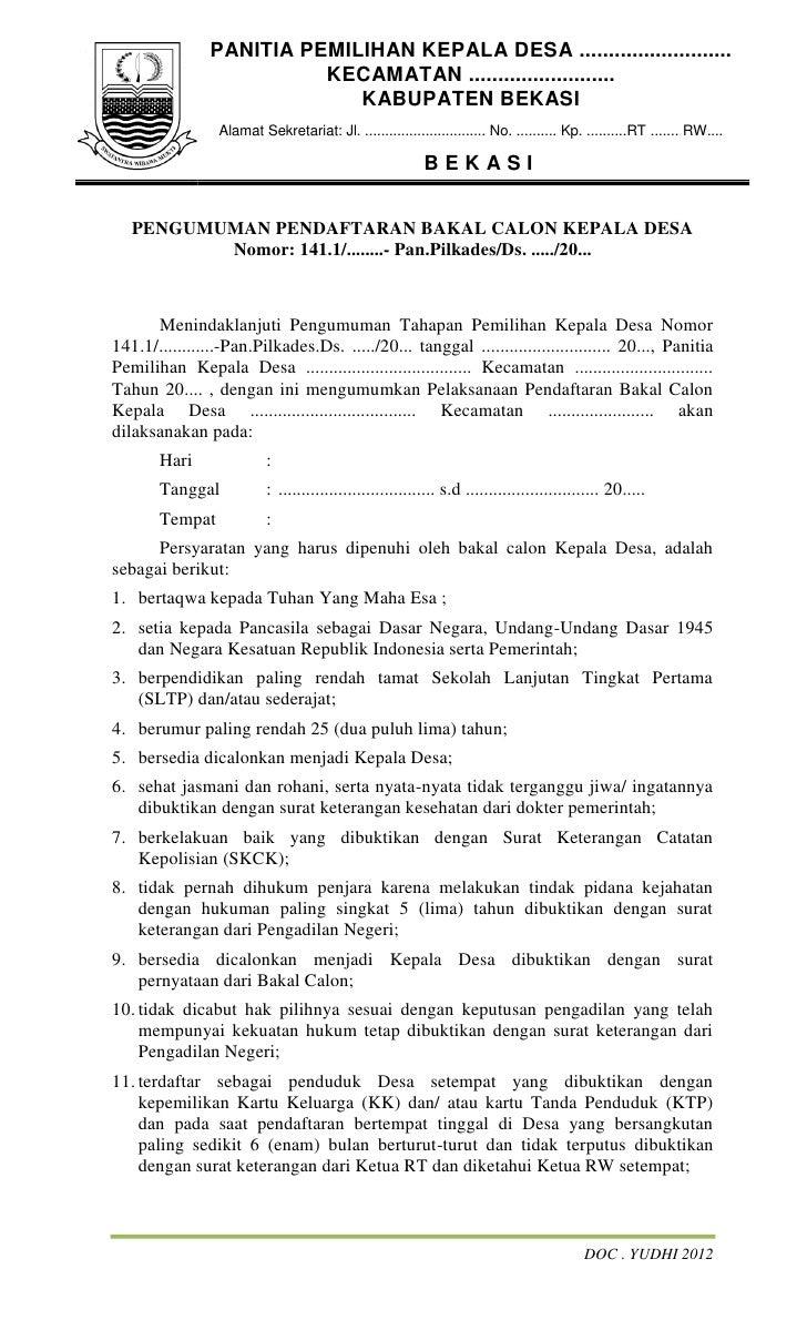 Contoh Dokumen Pilkades