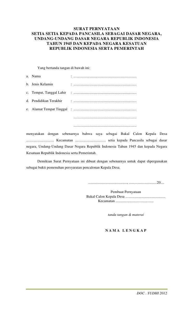 Contoh Surat Pernyataan Dokumen Asli - Leenatoh