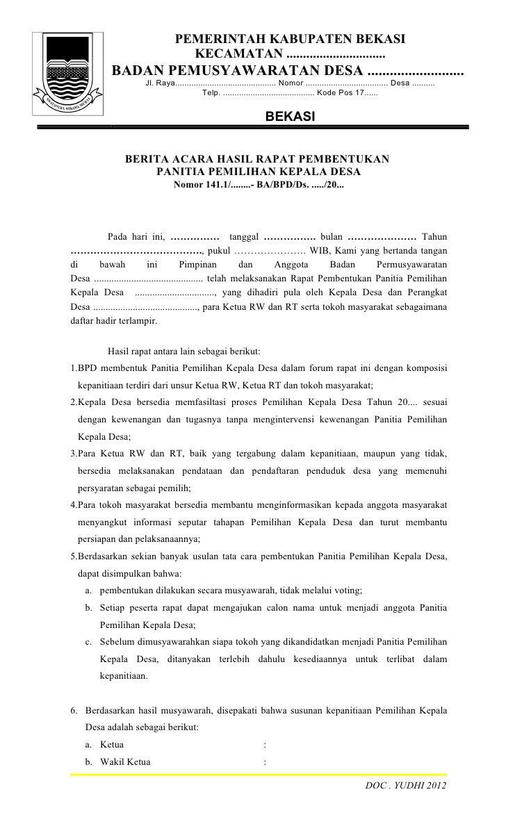 Contoh Berita Acara Hasil Pemilihan Rt Job Seeker