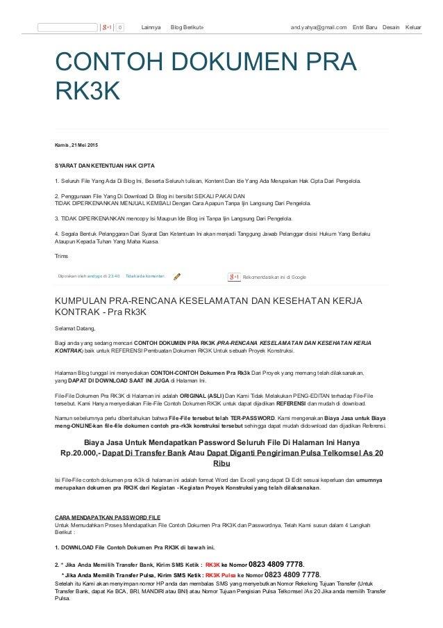 CONTOH DOKUMEN PRA RK3K Kamis, 21 Mei 2015 Diposkan oleh andygo di 23.40 Tidak ada komentar: SYARAT DAN KETENTUAN HAK CIPT...