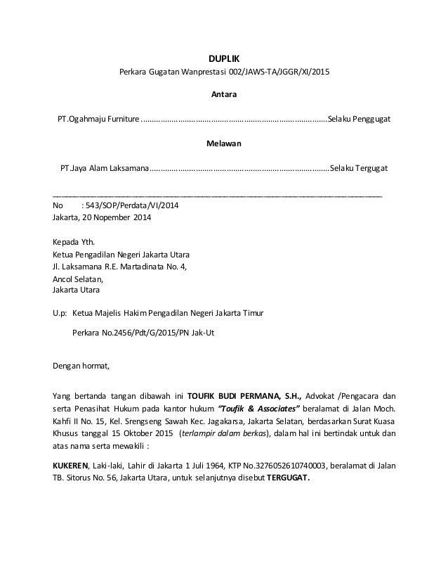 Contoh Surat Gugatan Wanprestasi Bank