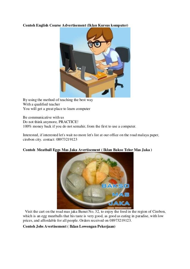Contoh English Course Advertisement