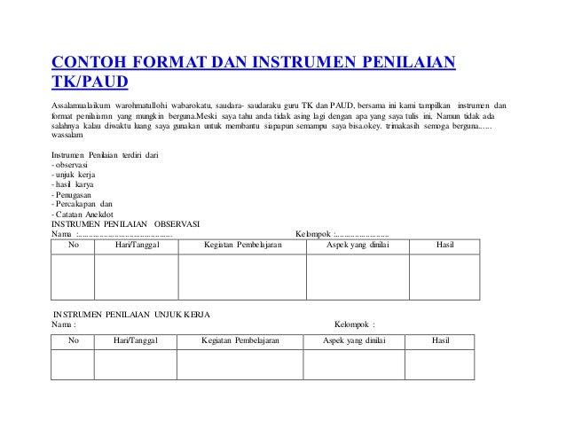 Contoh Format Dan Instrumen Penilaian Tk