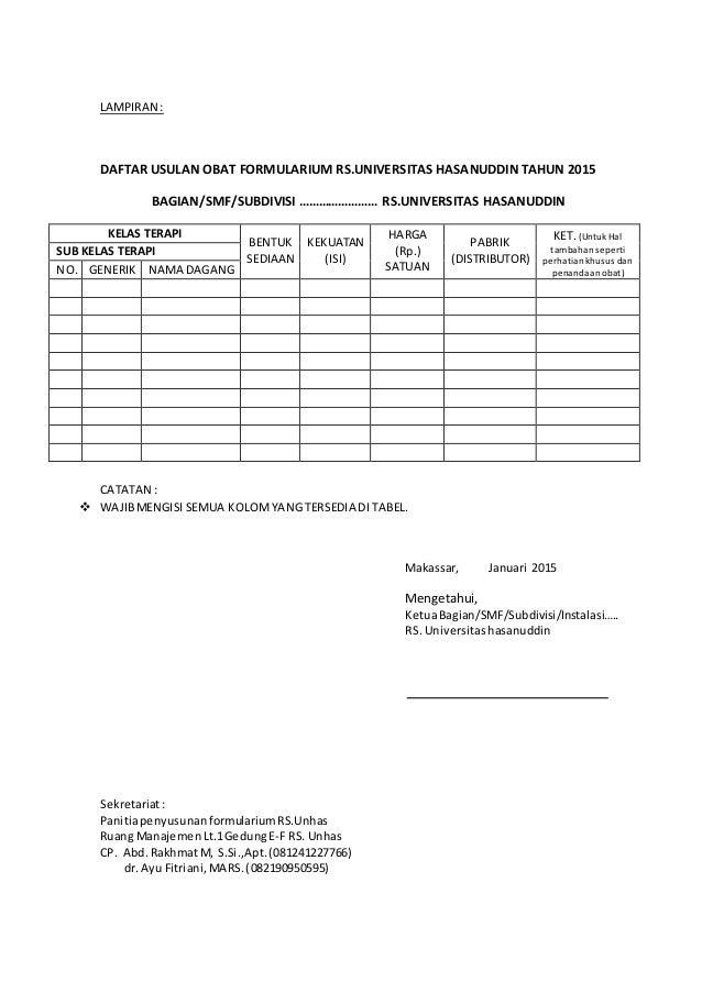 Contoh Form Pengusulan Obat Formularium