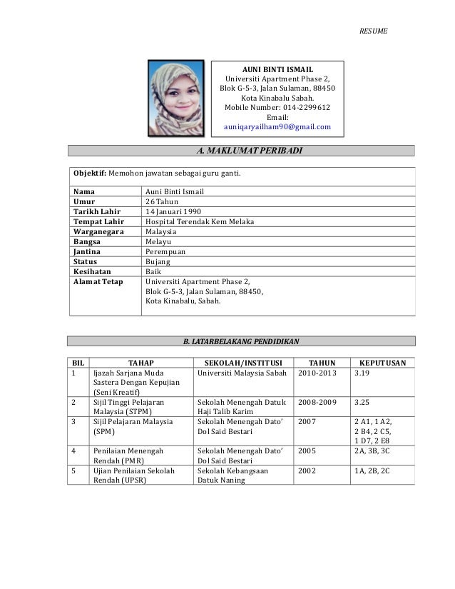 sample resume minta kerja