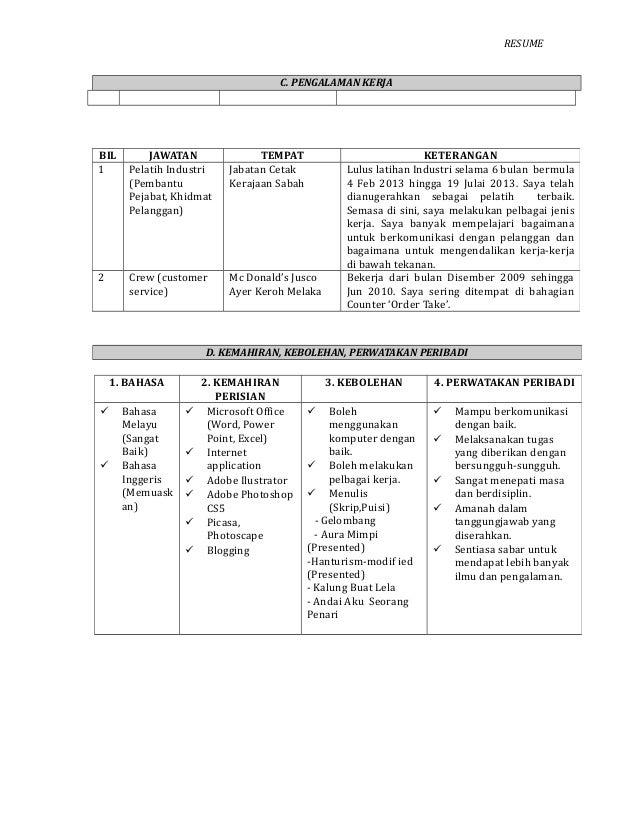 download format resume kerajaan download format resume kerajaan