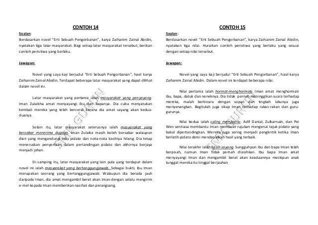 Contoh jawapan kajian novel pmr