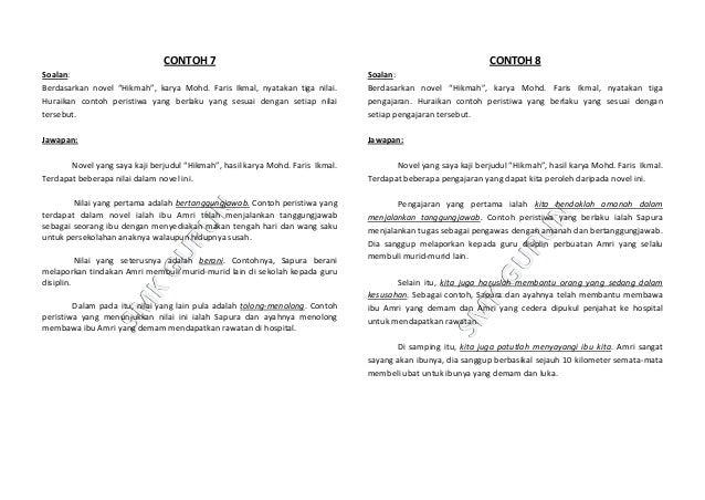Contoh Jawapan Soalan Novel Pt3 Malacca U