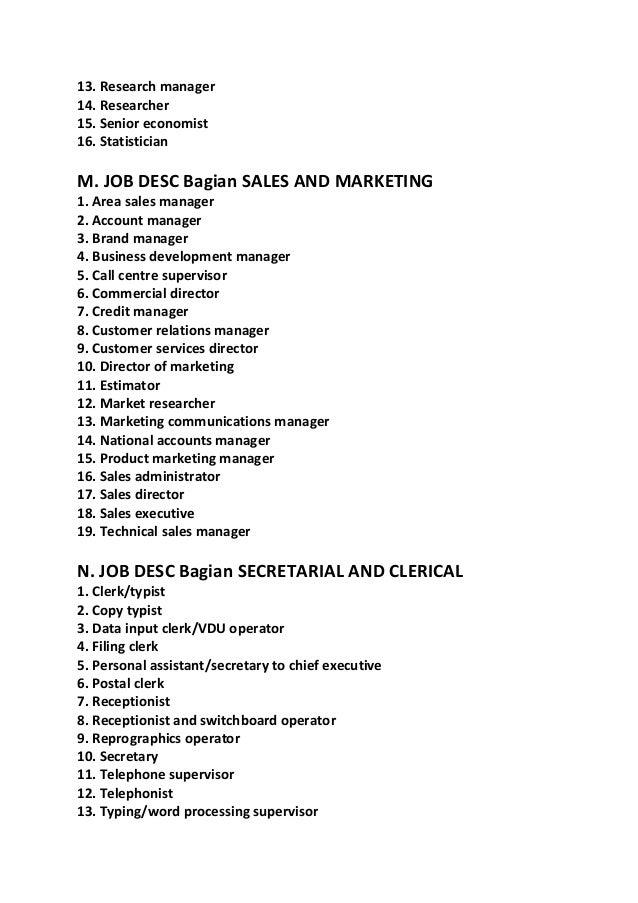 Contoh job description lengkap