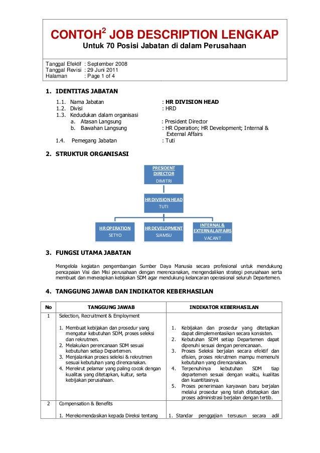 CONTOH2 JOB DESCRIPTION LENGKAP Untuk 70 Posisi Jabatan di dalam Perusahaan Tanggal Efektif : September 2008 Tanggal Revis...