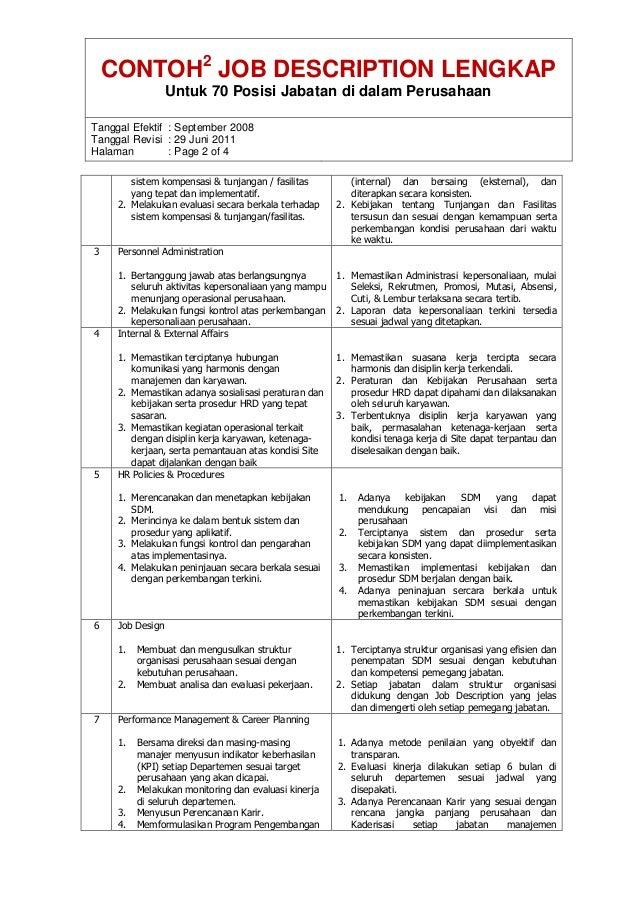 Contoh Jobdes Lengkap Untuk Perusahaan