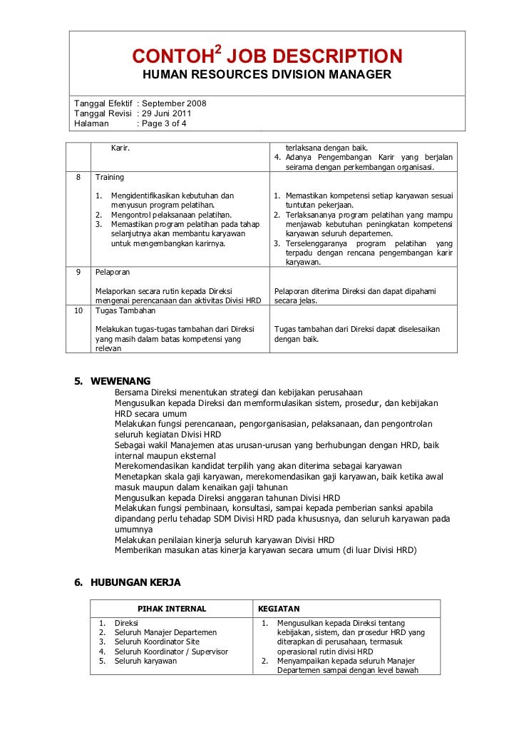 contoh job description hrd terbaru