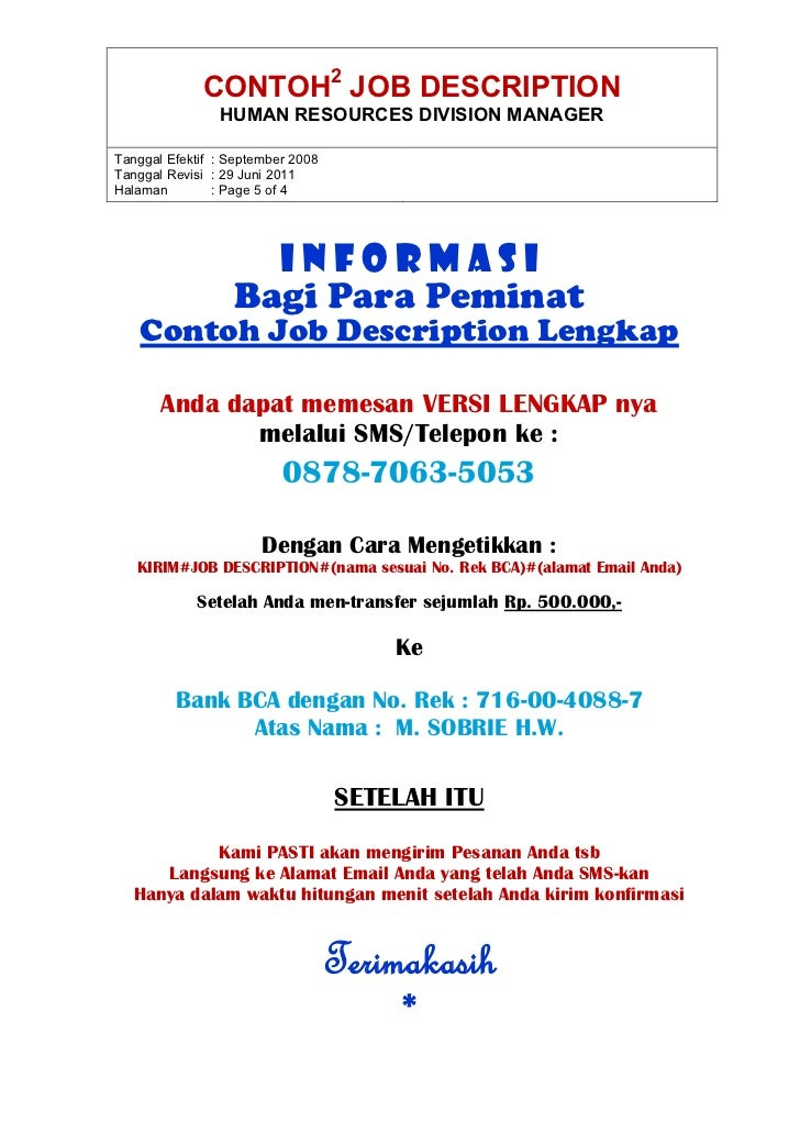 contoh job description and job specification pdf