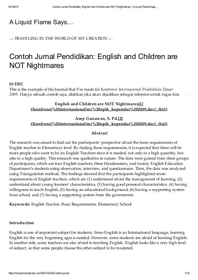 Contoh Jurnal Pendidikan English And Children Are Not Nightmares A