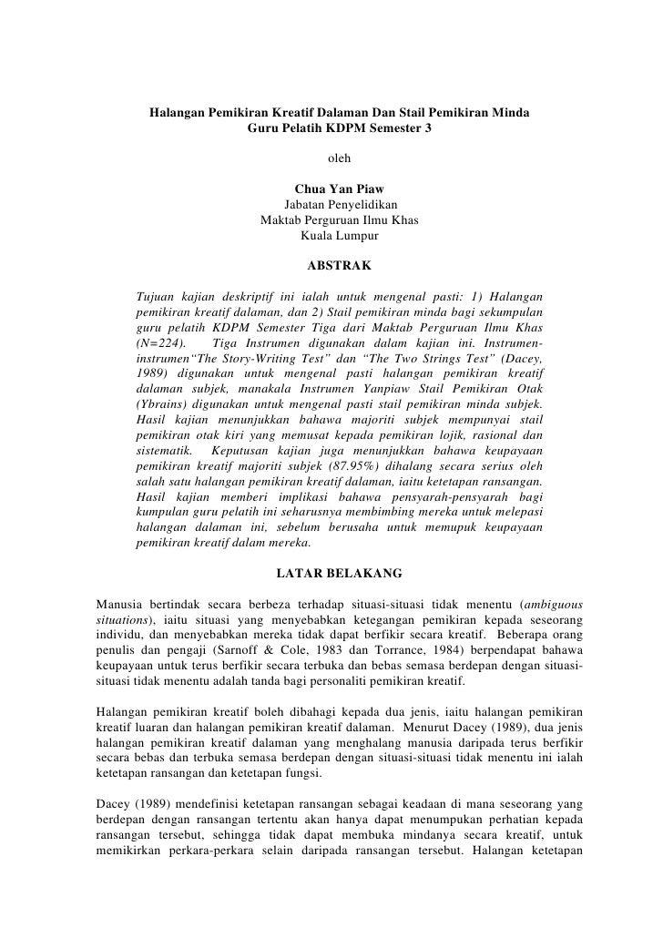 Halangan Pemikiran Kreatif Dalaman Dan Stail Pemikiran Minda                        Guru Pelatih KDPM Semester 3          ...