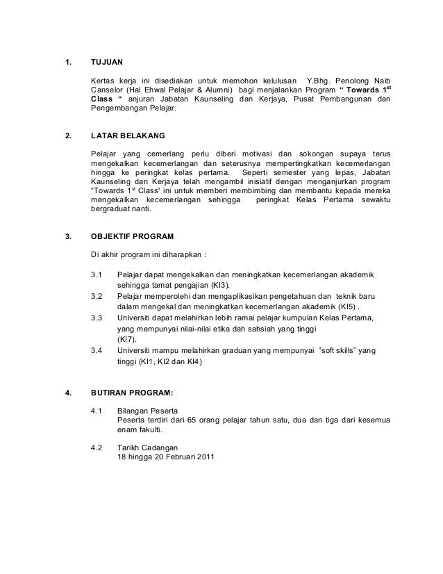 Contoh kertas kerja program