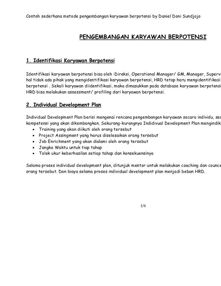 Contoh sederhana metode pengembangan karyawan berpotensi by Daniel Doni Sundjojo                         PENGEMBANGAN KARY...