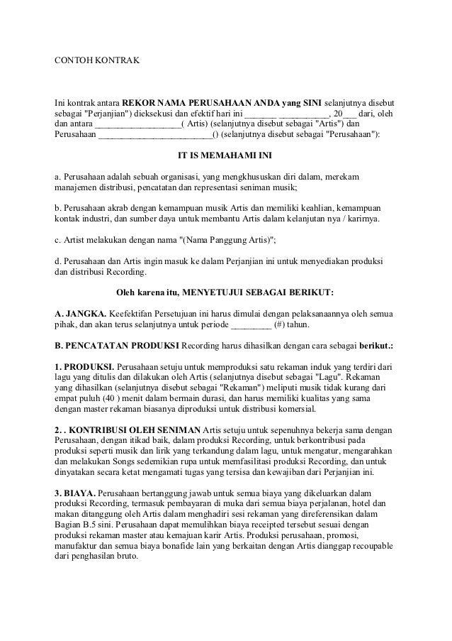 contoh kontrak