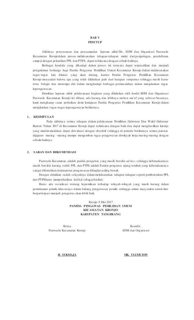 Contoh Laporan Akhir Panwaslucam 2019
