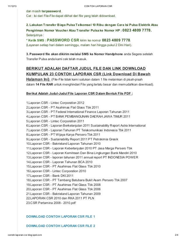Contoh Laporan Csr Di Blog Http Contoh Laporan Csr Blogspot Com