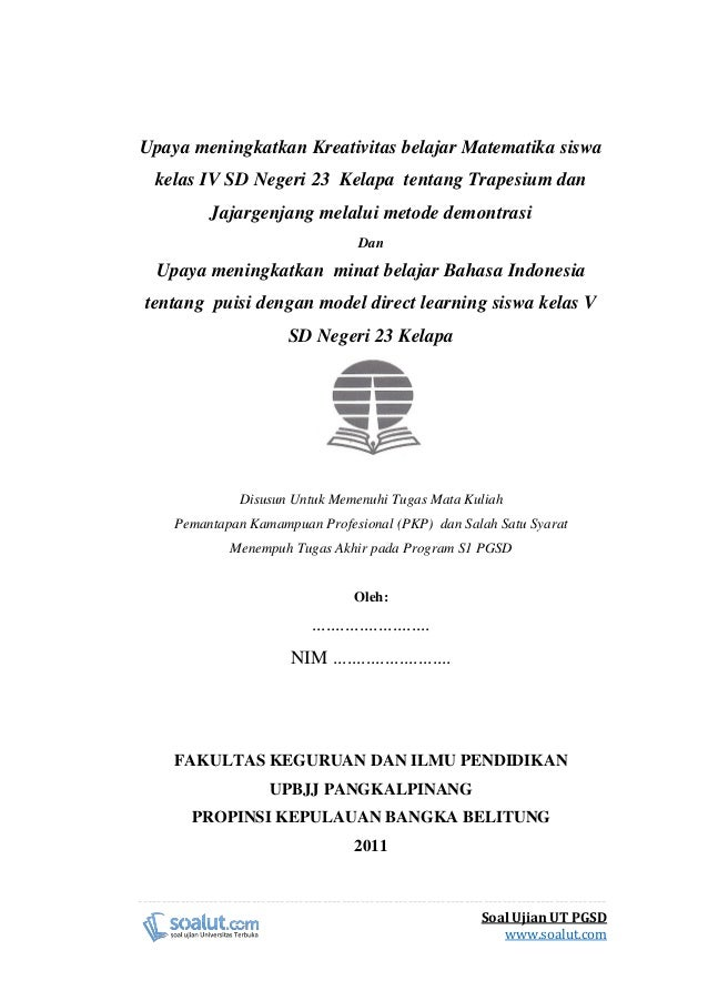 Contoh Laporan Pkp Ut Pgsd Matematika Dan Bahasa Indonesia Trapesiu