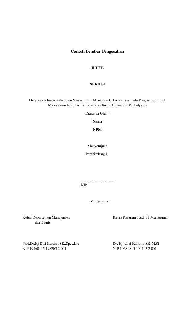 Contoh Halaman Pengesahan Proposal Skripsi Pejuang Skripsi