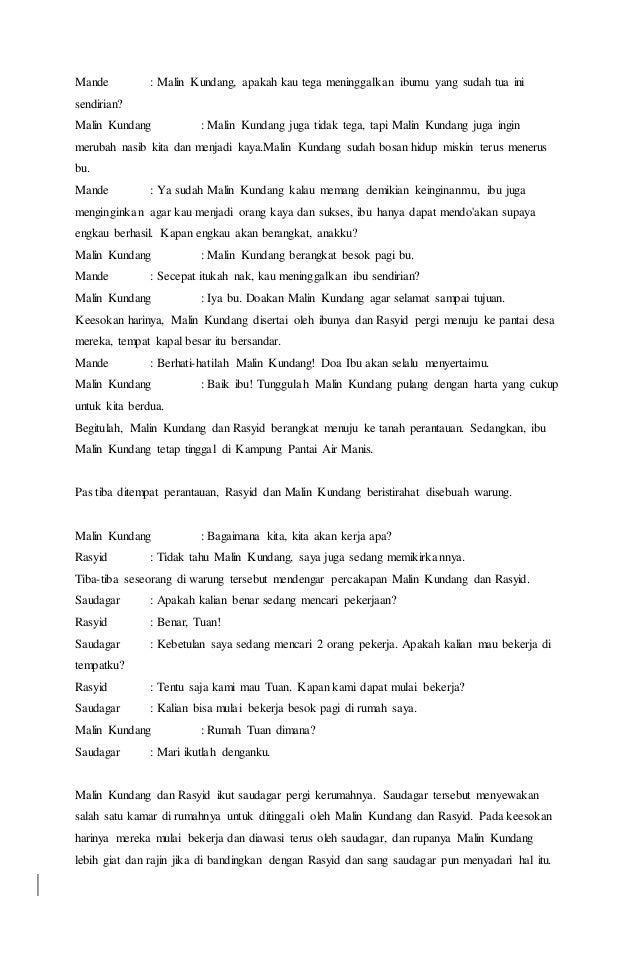 Contoh Naskah Drama Malin Kundang