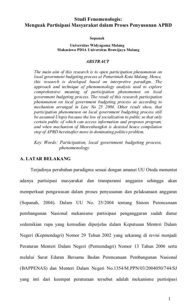 Studi Fenomenologis: Menguak Partisipasi Masyarakat dalam Proses Penyusunan APBD Sopanah Universitas Widyagama Malang Maha...
