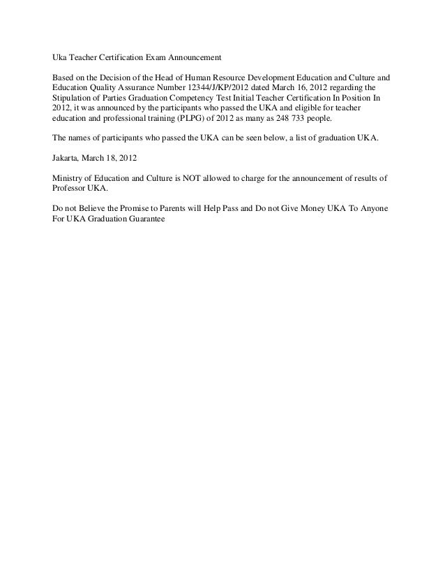 Uka Teacher Certification Exam AnnouncementBased on the Decision of the Head of Human Resource Development Education and C...