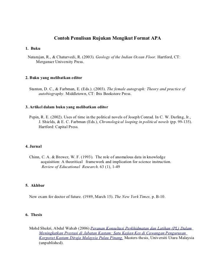 Contoh Penulisan Rujukan Mengikut Format APA1. Buku Natarajan, R., & Chaturvedi, R. (2003). Geology of the Indian Ocean Fl...