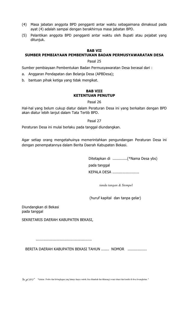Contoh Peraturan Desa tentang BPD