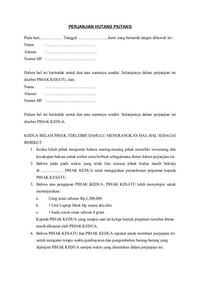 Contoh Surat Pernyataan Dan Jaminan Pelunasan Hutang