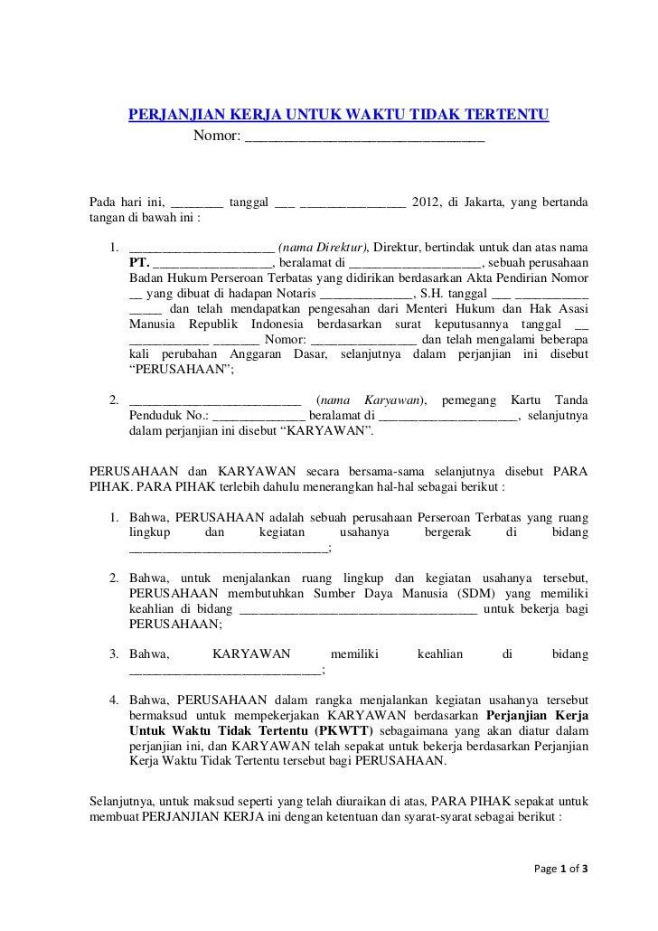 Contoh Perjanjian Kerja Tetap Kontrak Sesuai Uu