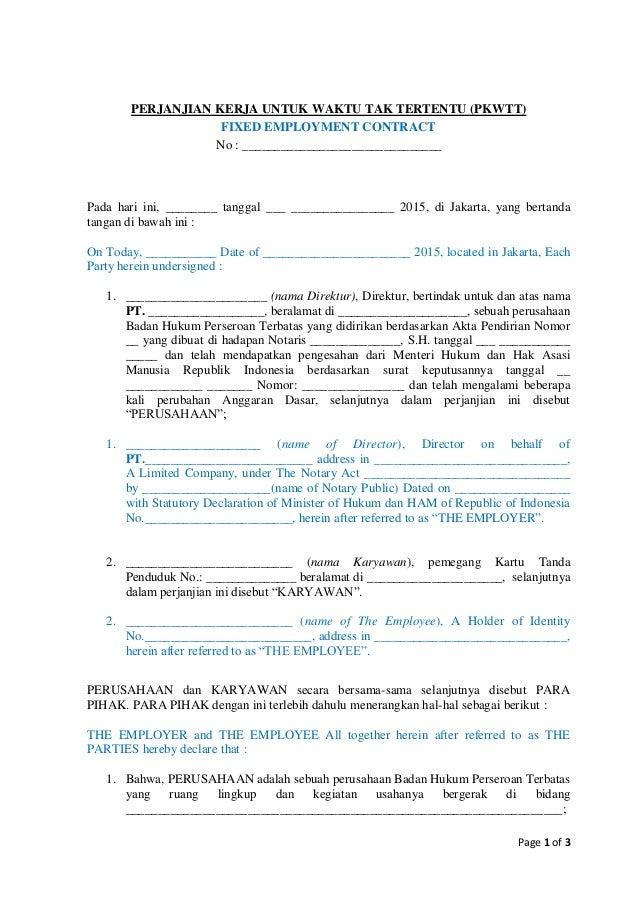 Page 1 of 3 PERJANJIAN KERJA UNTUK WAKTU TAK TERTENTU (PKWTT) FIXED EMPLOYMENT CONTRACT No : _____________________________...