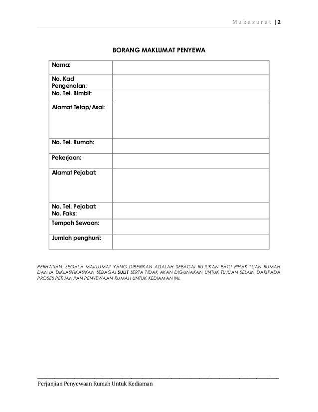 Contoh perjanjian sewa rumah kediaman2014 Slide 2
