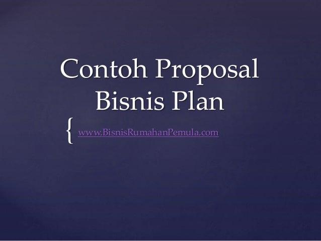 Contoh proposal bisnis plan