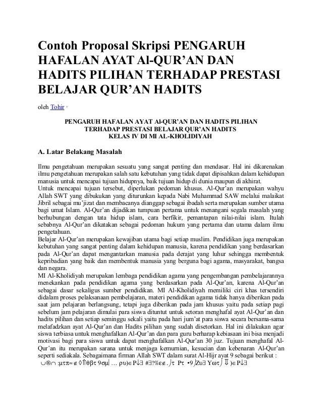 Contoh Proposal Skripsi Pengaruh Hafalan Ayat Alquran