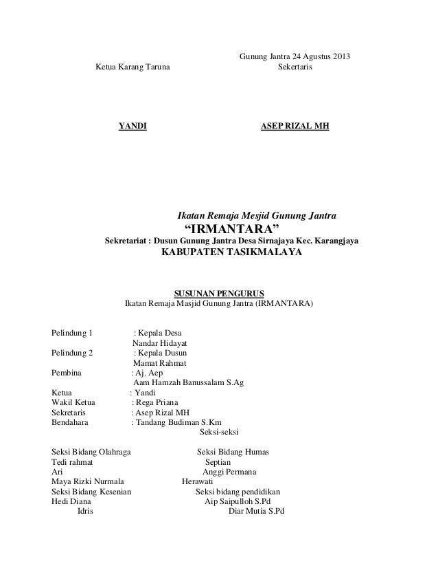Contoh Proposal Kegiatan Karang Taruna Pdf Equinox In Armonk Class