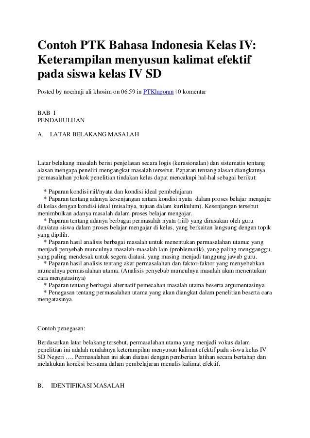 Contoh Ptk Bahasa Indonesia Kelas Iv