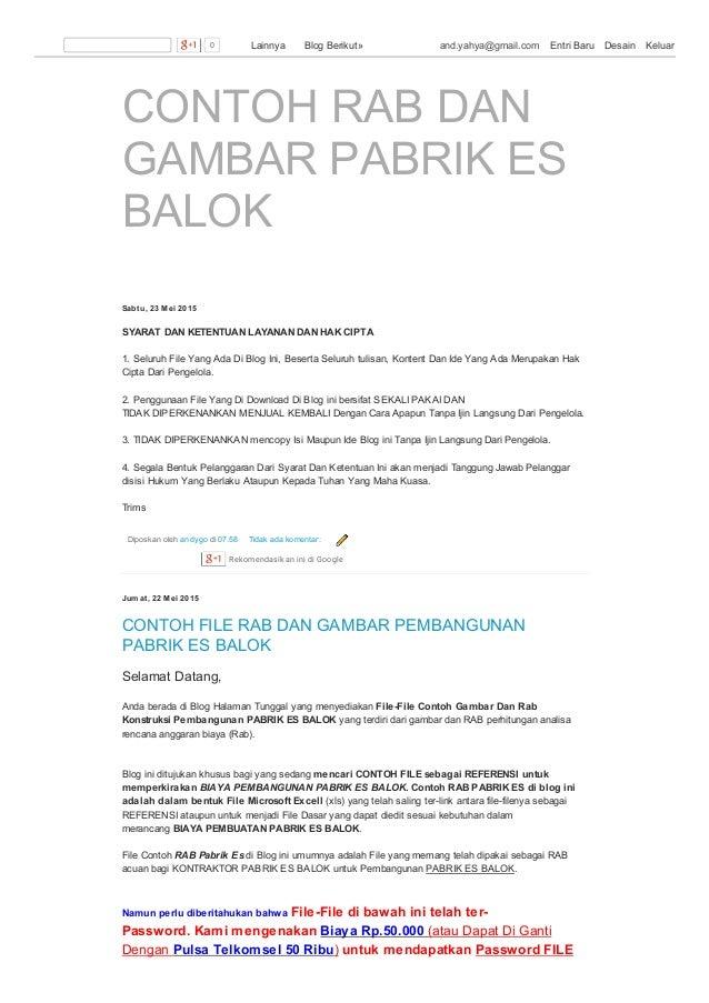 CONTOH RAB DAN GAMBAR PABRIK ES BALOK Sabtu, 23 Mei 2015 Diposkan oleh andygo di 07.58 Tidak ada komentar: SYARAT DAN KETE...
