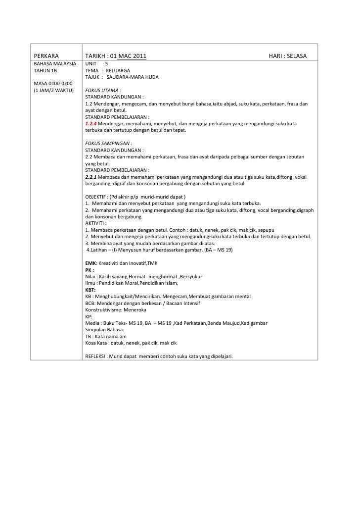 PERKARA TARIKH : 01 MAC 2011                    HARI : SELASABAHASA MALAYSIATAHUN 1BMASA:0100-0200(1 JAM/2 WAKTU)UNIT     ...