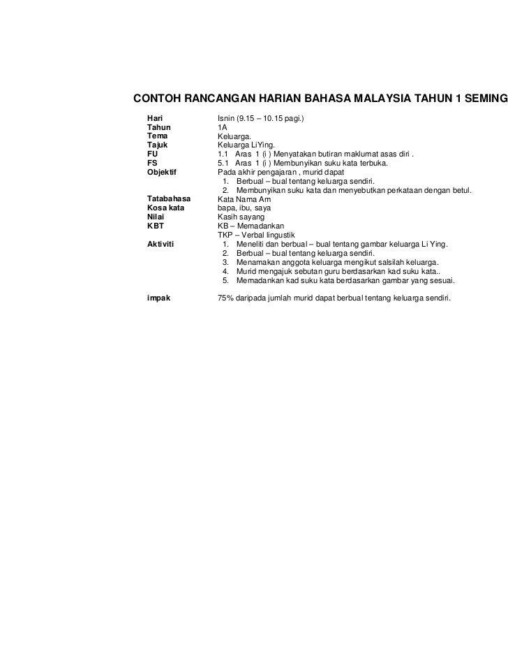 CONTOH RANCANGAN HARIAN BAHASA MALAYSIA TAHUN 1 SEMINGGU  Hari         Isnin (9.15 – 10.15 pagi.)  Tahun        1A  Tema  ...
