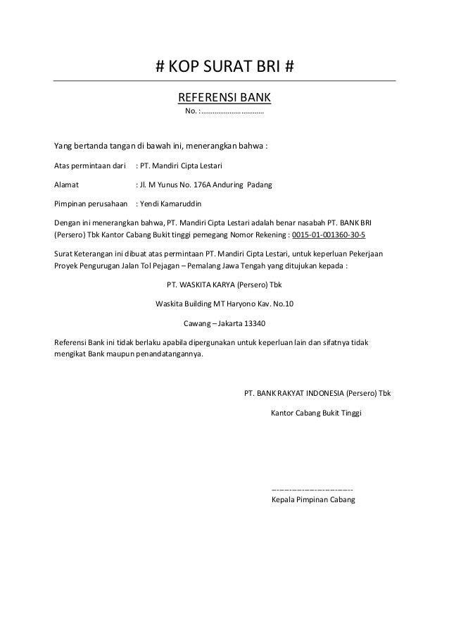 contoh referensi bank