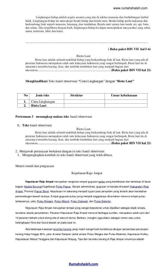 Contoh Rpp Laporan Hasil Observasi Smp Kelas 7