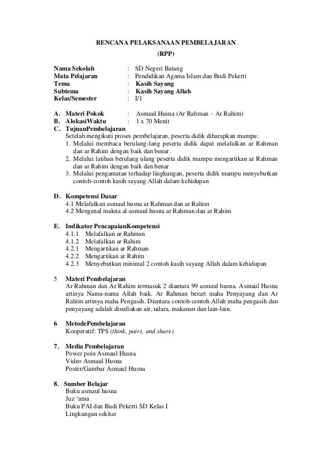 Contoh Rpp Pai Sd Kelas 1 Kurikulum 2013