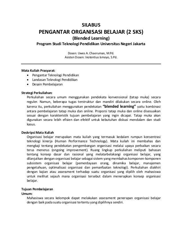 SILABUS           PENGANTAR ORGANISASI BELAJAR (2 SKS)                                (Blended Learning)         Program S...