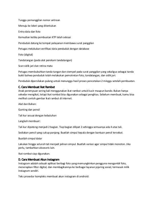 Contoh Singkat Teks Prosedur Kompleks