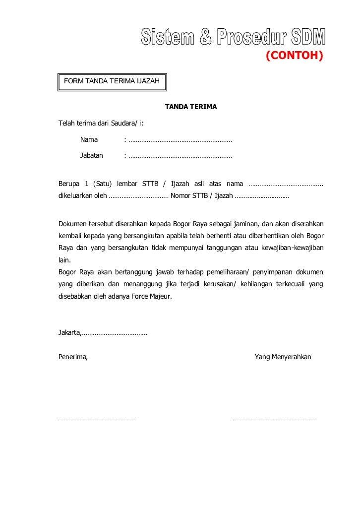 Contoh Formulir Tanda Terima Barang Detil Gambar Online