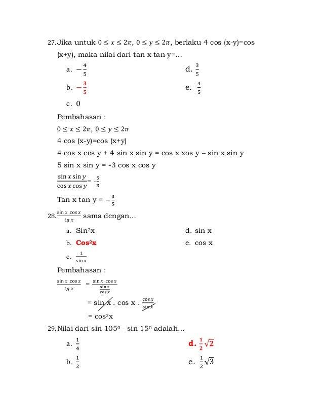 Contoh Soal Trigonometri Kelas 12 Dan Pembahasannya Ilmu Pengetahuan 8