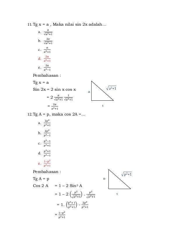 Contoh Soal Bab Trigonometri Dan Pembahasannya